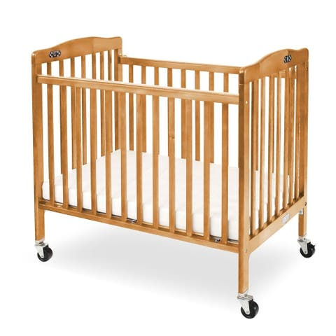Slatted Foldable Pocket Wooden Crib with Casters Support,Natural Brown