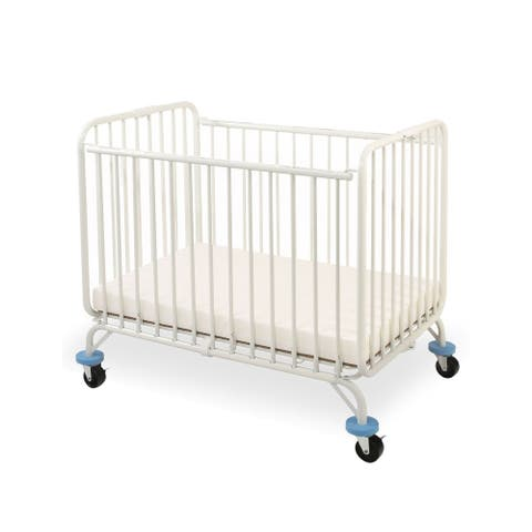 Slatted Metal Crib with Folding Mechanism and Casters, Small, White