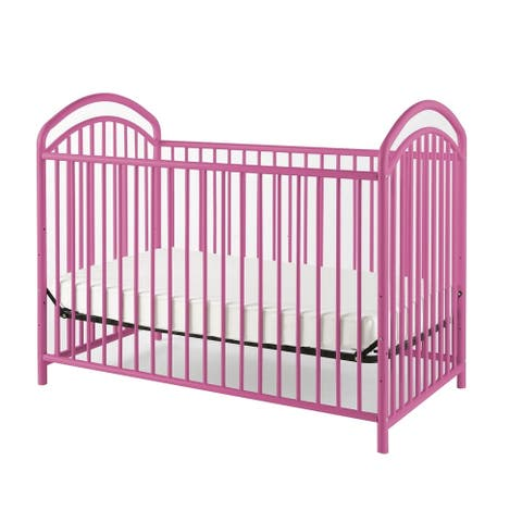 Metal 3 in 1 Full Size Twin Arched Crib with Grid Details, Pink