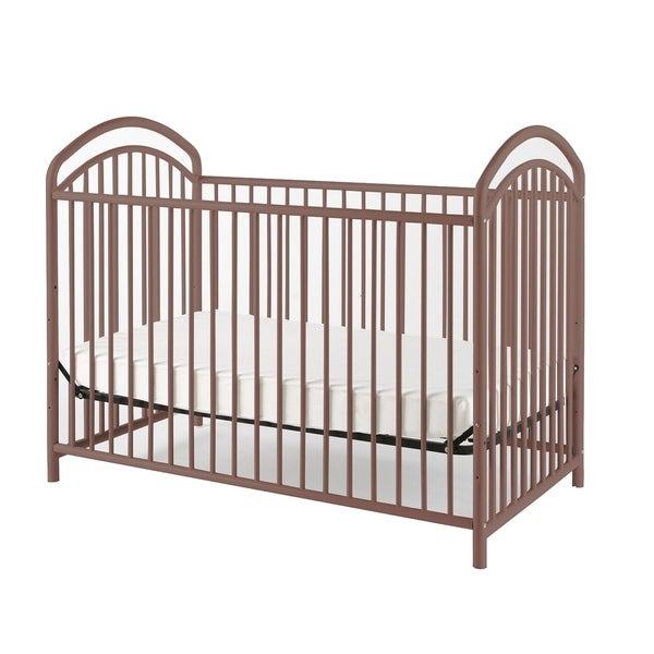 Metal 3 in 1 Full Size Twin Arched Crib with Grid Details, Dark Brown