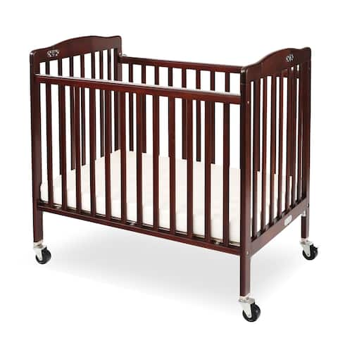 Slatted Foldable Pocket Wooden Crib with Casters Support, Cherry Brown