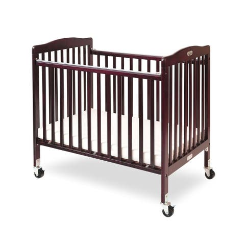 Slatted Foldable Wooden Crib with Caster Support, Cherry Brown