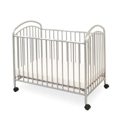Grid Metal Crib with Adjustable Mattress Height and Casters, Gray