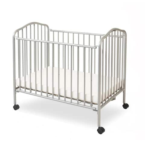 Industrial Grid Metal Crib with Folding Mechanism and Casters, Gray