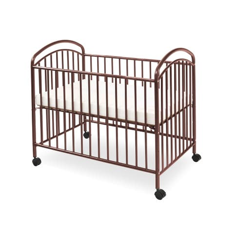 Grid Metal Crib with Adjustable Mattress Height and Casters,Dark Brown