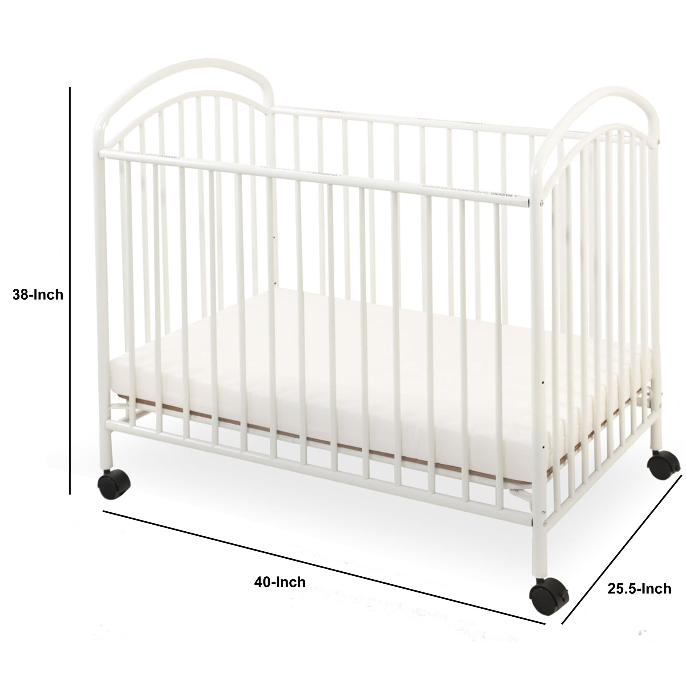 Grid Metal Crib With Adjustable Mattress Height And Casters White Overstock 30380725