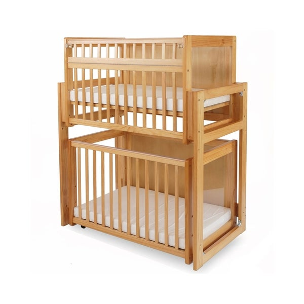 Modular Dual Level Slatted Crib with Acrylic Panels, Brown and Clear