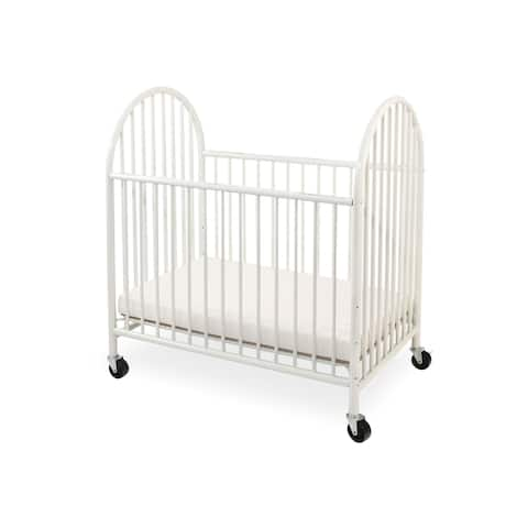Slatted Metal Crib with Casters and Arched End Panel, White and Black