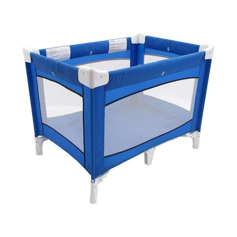 Fabric Covered Metal Crib Yard with Mesh Design, Blue