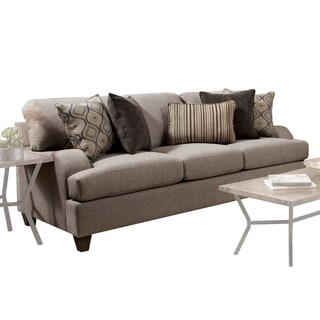 Fabric Upholstered Wooden Sofa with Tapered Legs, Beige and Brown