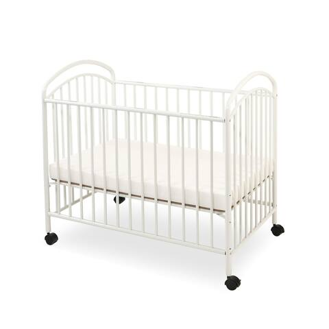 Grid Metal Mini Crib with Adjustable Mattress Height and Casters,White