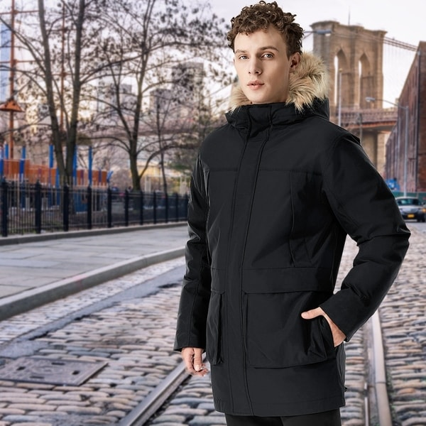 Men's Down Jacket Hooded Puffer Coat Removable Faux Trim Black. Opens flyout.