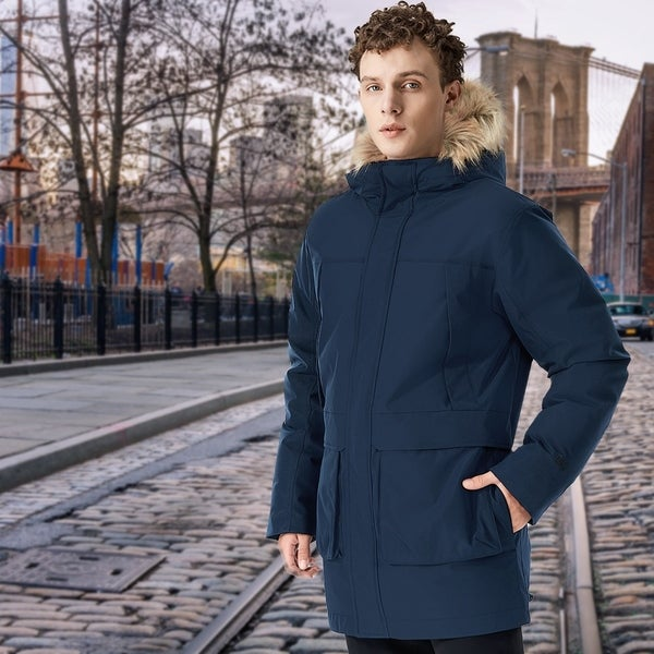 Mens Down Jacket Hooded Puffer Coat Removable Faux Trim Navy