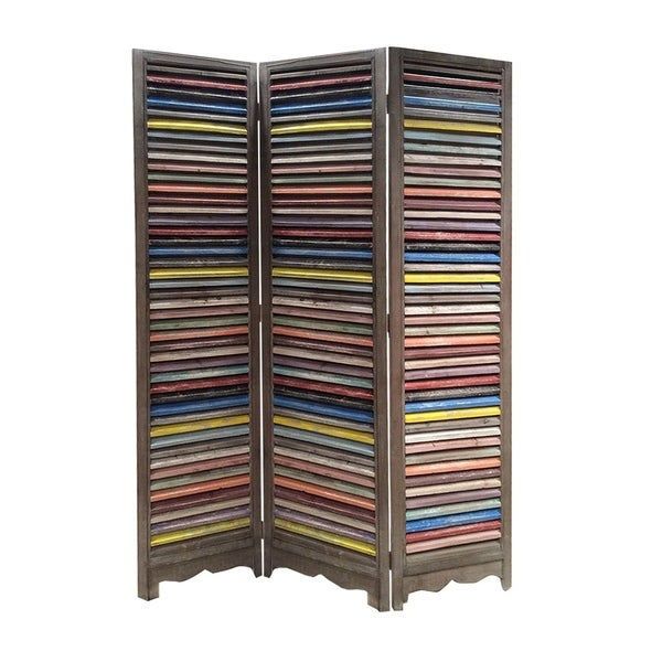 3 Panel Modern Style Foldable Wooden Shutter Screen, Multicolor
