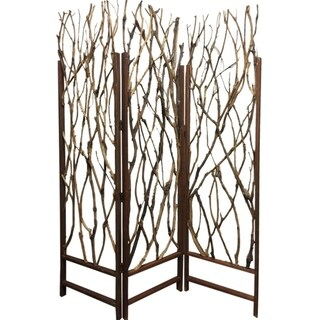 3 Panel Contemporary Foldable Wood Screen with Tree Branches, Brown