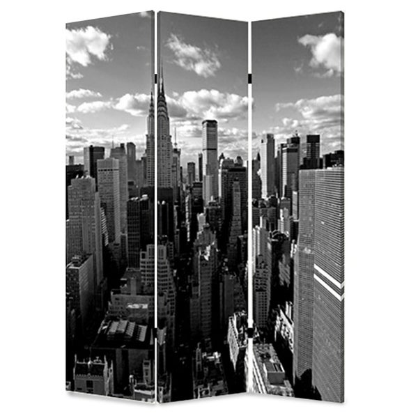 3 Panel Foldable Screen with New York Skyline Print, Black and White