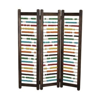 Abacus Design Foldable Wooden Screen with 3 Panels, Multicolor