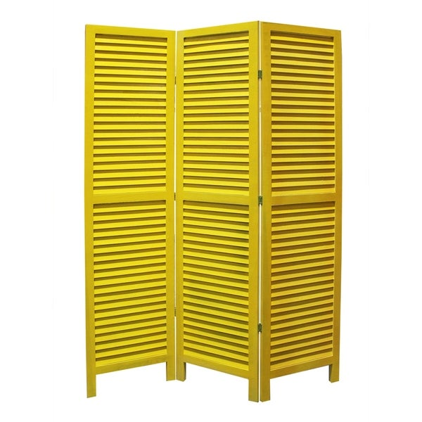 3 Panel Foldable Wooden Shutter Screen with Straight Legs, Yellow
