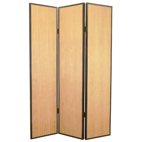 Foldable 3 Panel Wooden Screen with Faux Leather Trim, Brown
