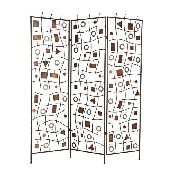 Foldable Metal Screen with Geometrical Design and 3 Panels, Brown