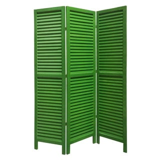Link to 3 Panel Foldable Wooden Shutter Screen with Straight Legs, Green Similar Items in Decorative Accessories