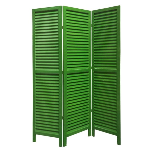 3 Panel Foldable Wooden Shutter Screen with Straight Legs, Green