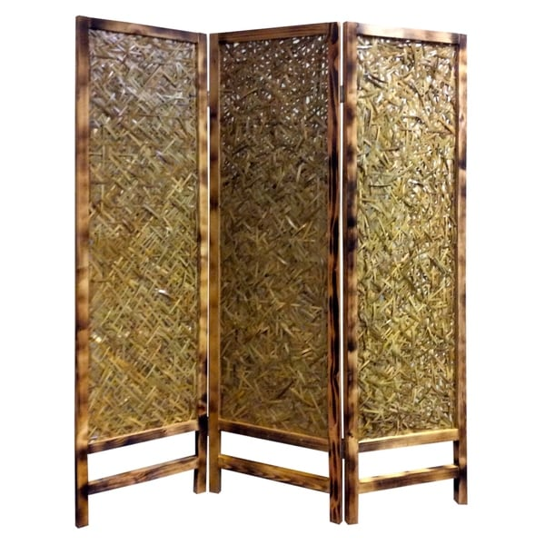 3 Panel Traditional Foldable Screen with Entwine Bamboo Design, Brown