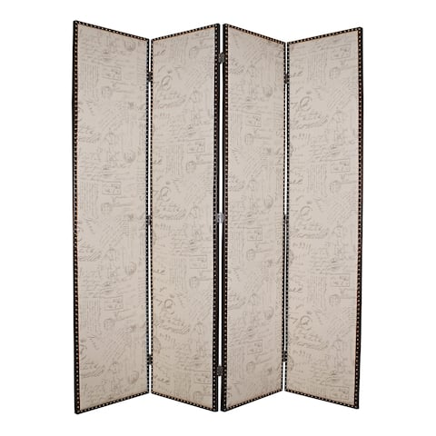 Wooden 4 Panel Foldable Screen with Script Print, Beige