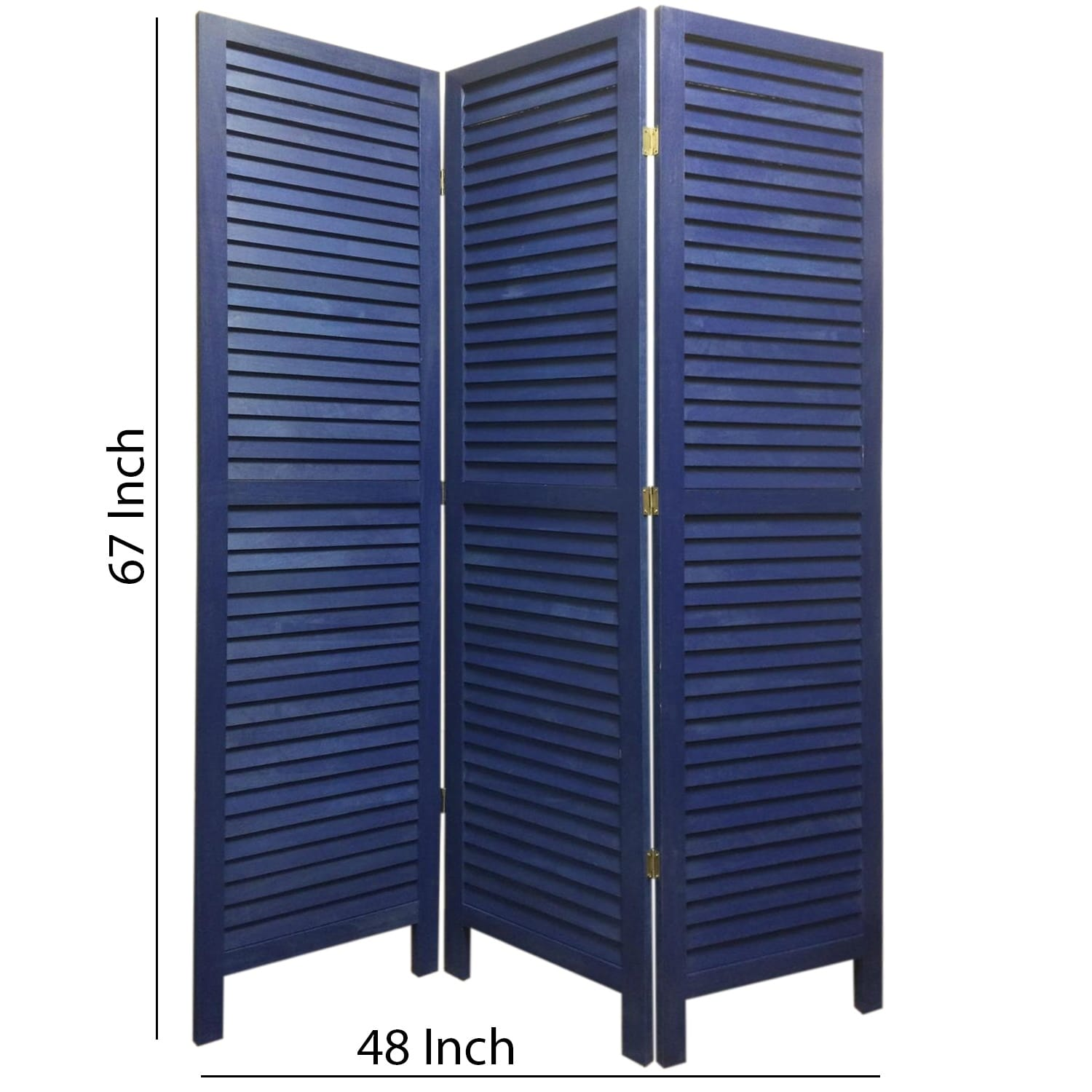 3 Panel Foldable Wooden Shutter Screen With Straight Legs Blue