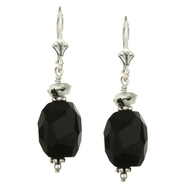 Lola's Jewelry Sterling Silver Black Onyx and Quartz Earrings
