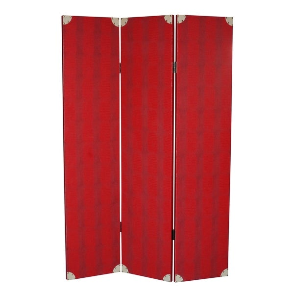 Transitional 3 Panel Wooden Screen with Nailhead Trim, Red. Opens flyout.