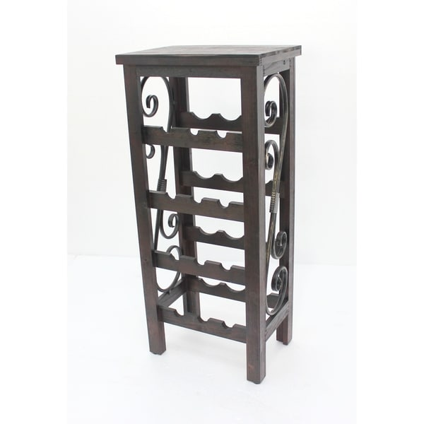 Wooden Wine Rack with Scroll Details on Sides, Distressed Brown