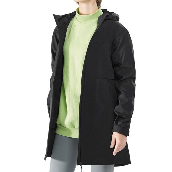 Women's Hooded Windproof Trench Rain Jacket Black. Opens flyout.