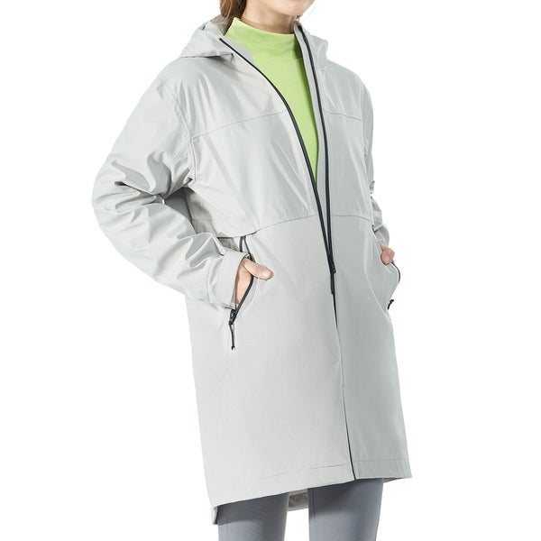 Women's Hooded Windproof Trench Rain Jacket Gray. Opens flyout.