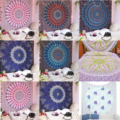 Bohemian Cotton Tapestry Mandala Wall Hanging Hippie Decorative Bedspread Dorm Décor