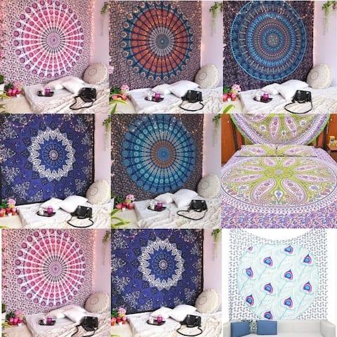 Home Decoration Bohemian Cotton Tapestry Mandala Wall Hanging Hippie Decorative Bedspread Dorm Decor Beach Blanket For Womens
