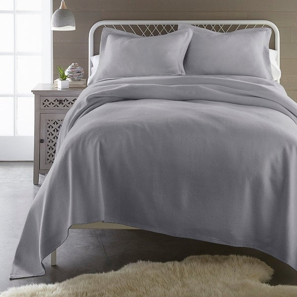 French Impression Gaveny Cotton 3 Piece Full Size Jacquard Matelasse Coverlet Set in White (As Is Item). Opens flyout.