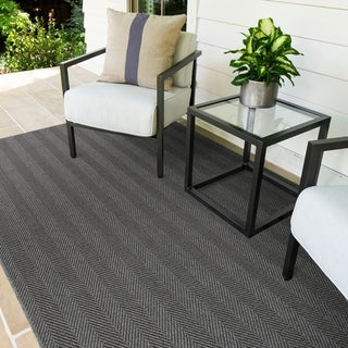 Marco Island Dark Grey Indoor/Outdoor Flat-Weave Rug