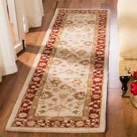 """Safavieh Handmade Anatolia Oriental Ivory/ Red Hand-spun Wool Runner (2'3 x 14') - 2'3"""" x 14'"""