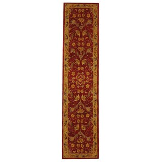Safavieh Handmade Anatolia Oriental Burgundy/ Gold Hand-spun Wool Runner (2'3 x 14')