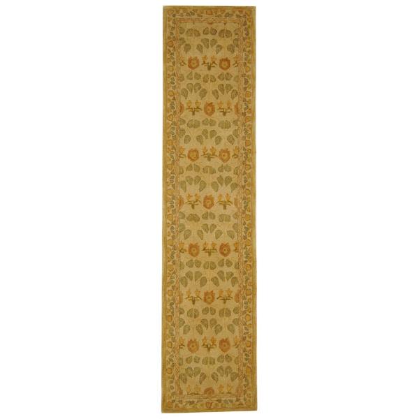 Safavieh Handmade Anatolia Oriental Traditional Ivory/ Green Hand-spun Wool Runner (2'3 x 14')