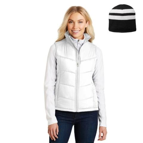 One Country United Women's Puffer Vest and Fleece Lined Beanie
