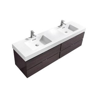 "Bliss 72"" High Gloss Gray Oak Wall Mount Double Sink Modern Bathroom Vanity"