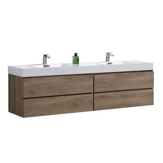 "Bliss 72"" Butternut Wall Mount Double Sink Modern Bathroom Vanity"
