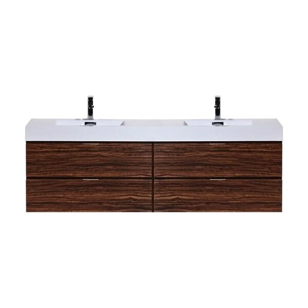 """Bliss 72"""" Walnut Wall Mount Double Sink Modern Bathroom Vanity"""