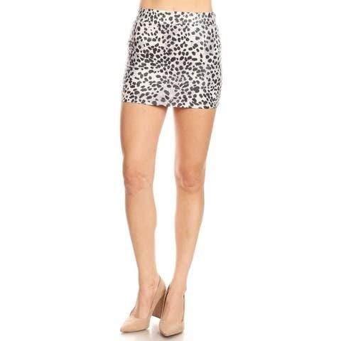 Women's Solid Basic Stretch Knit Flared Mini Skirt