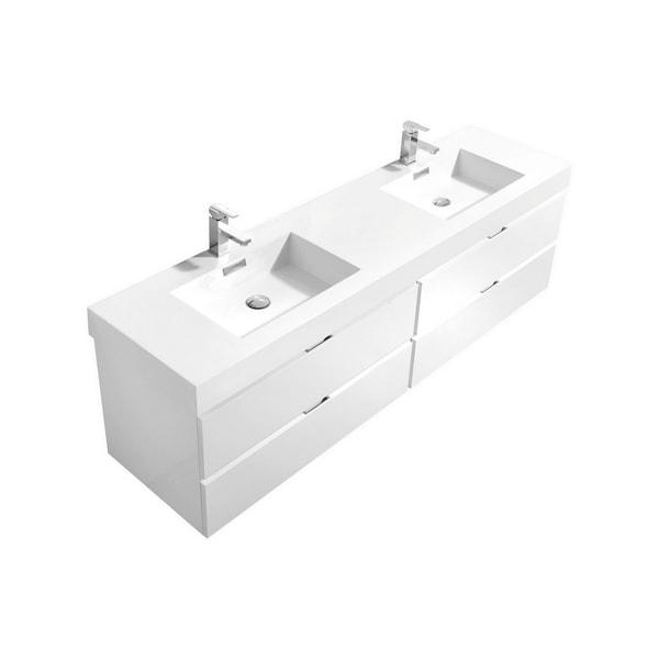 "Bliss 80"" High Gloss White Wall Mount Single Sink Modern Bathroom Vanity"