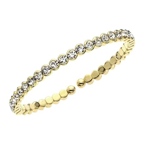 """Forever Last 14kt Gold Brass Plated Yellow Gold Single Row Honeycomb Crystal Cuff Bracelet 7.5"""""""