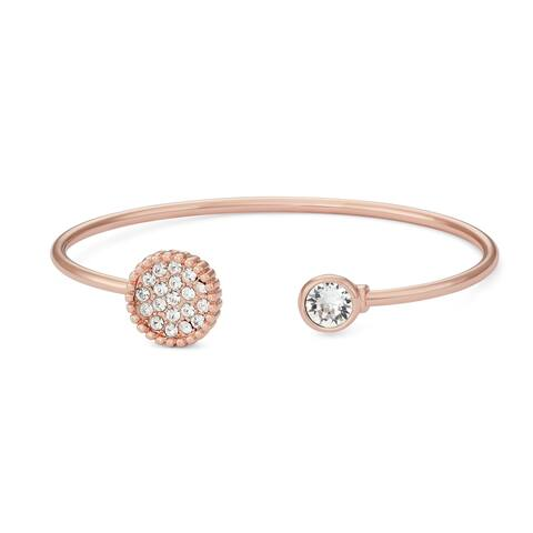 Forever Last 14kt Gold Brass Plated Rose Plate Open End Bangle Circle Swarovski Stone