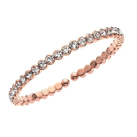 Forever Last 14kt Gold Brass Plated Rose Gold Single Row Honeycomb Crystals Cuff Bracelet